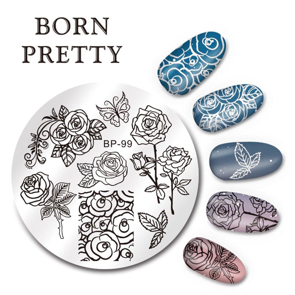 Born Pretty 1 Planche 5.5cm Nail Art Plaque de Stamping Ronde Moitif de Fleur Papillon BP-99 Born Pretty®BP-99