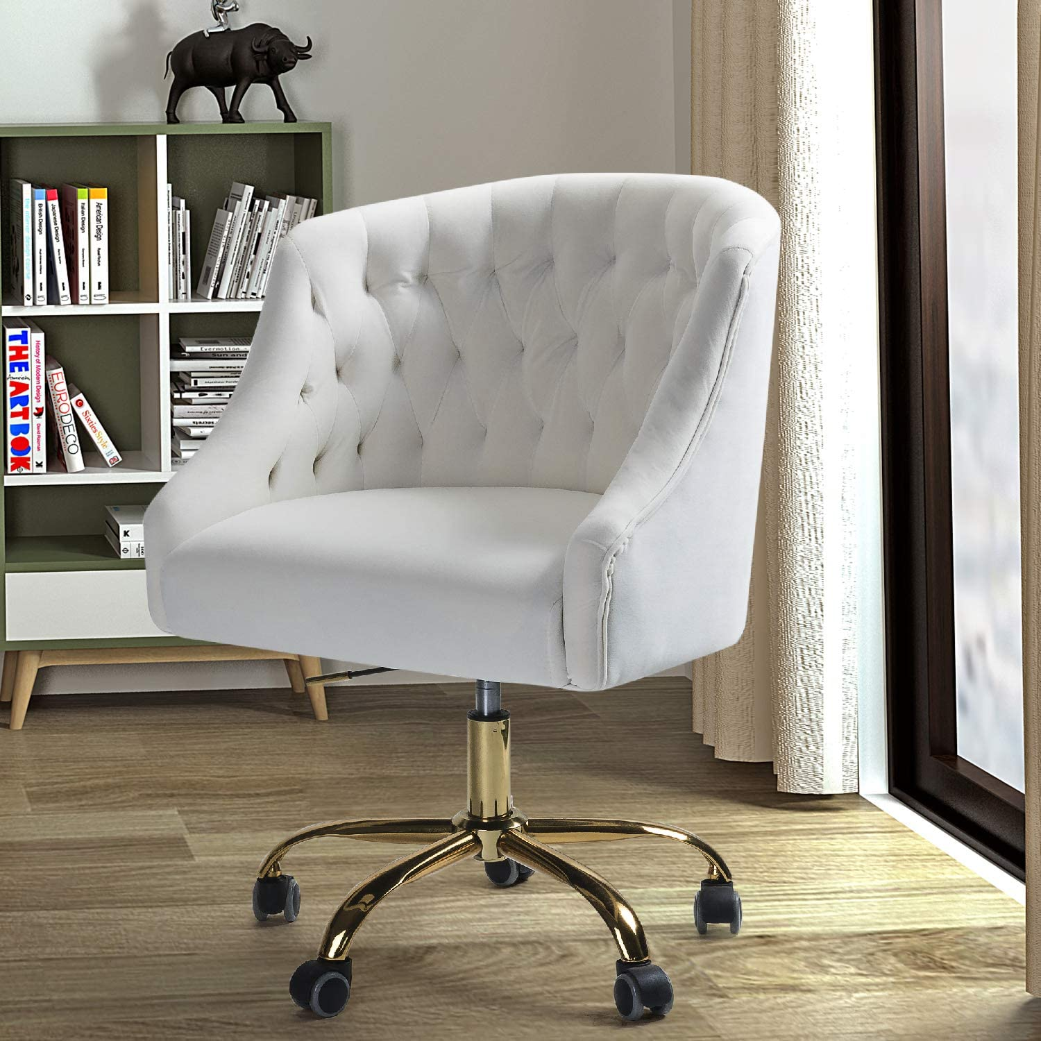 Velvet Fabric Swivel Task Chair for Home Office - Ivory