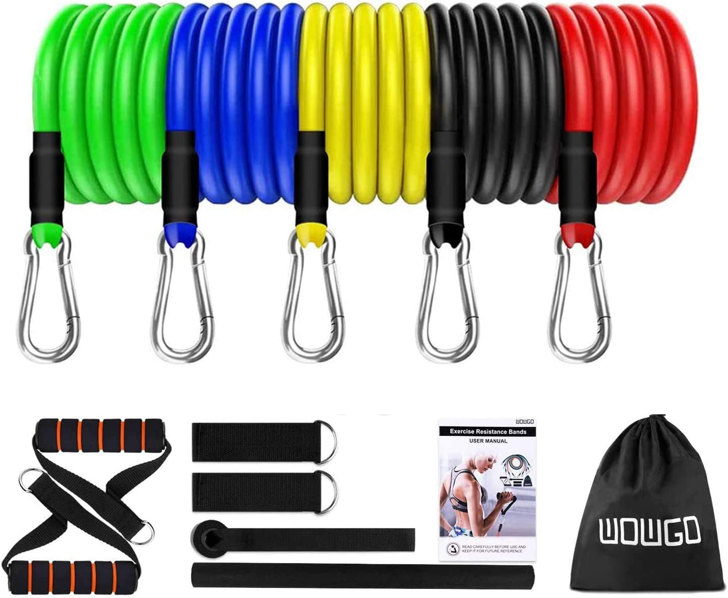 WOWGO Exercise Resistance Bands Set - Fitness Stretch Workout Bands with 5pc Fitness Tubes, Foam Handles, Ankle Straps, Door Anchor for Men Women, Up to 125 lbs, Your Home Gym