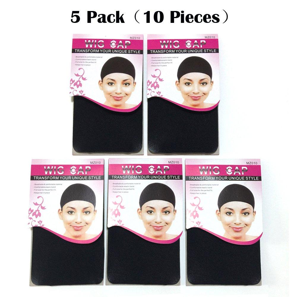 BQ 10 Pieces Wig Caps, 5 Pack(2 Pieces per Pack), Black Color
