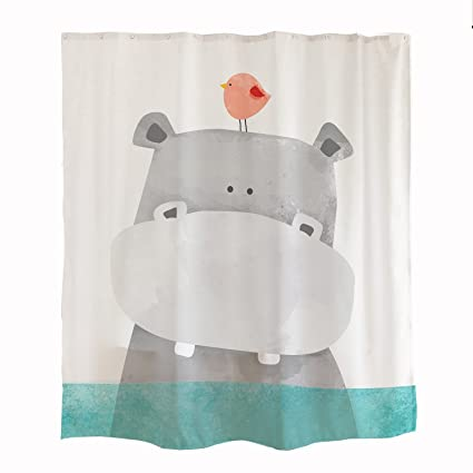 orange design cute hippo kids shower curtain animal baby river horse bird ocean marine theme - Cute Shower Curtains