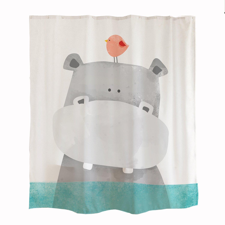 Orange Design Cute Hippo Kids Shower Curtain, Animal Baby River Horse Bird Ocean Marine Theme for Kids Children Kids Bathroom Sets Polyester Fabric with Hooks 71x71, Green White Grey