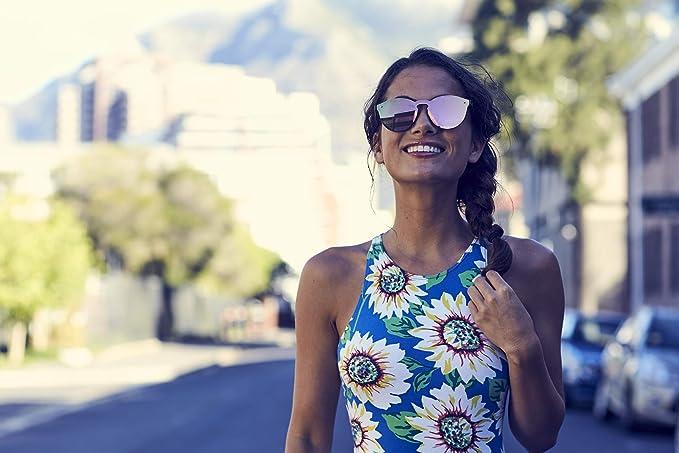 24e5ee9db43d01 Cheapass Lunettes de soleil Rondes Monture rose Verres effet miroir  Monopièce Femmes Protection UV400  Amazon.fr  Vêtements et accessoires