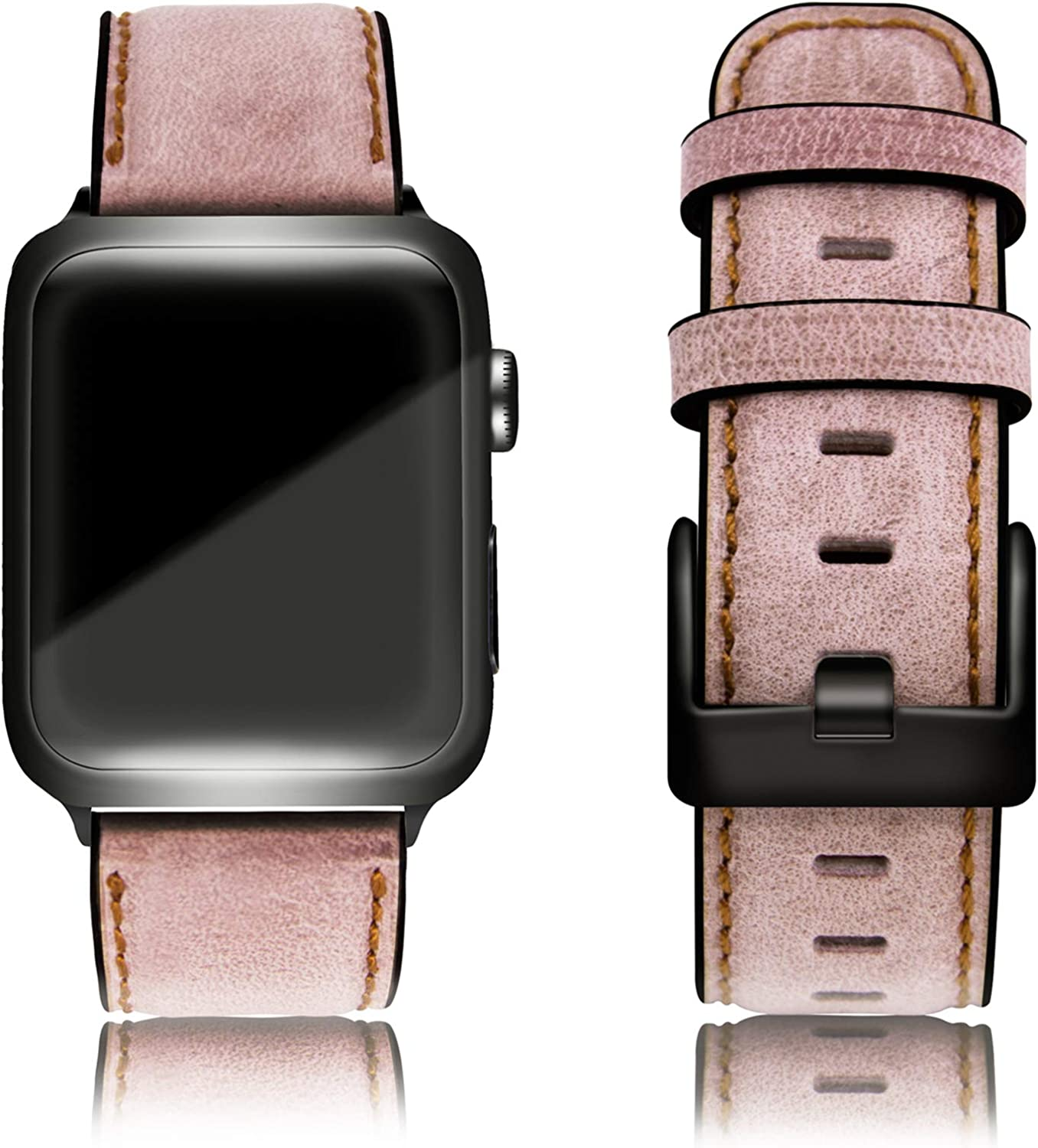Lifendear Replacement for Vintage Leather Band Compatible with Apple iWatch Series 6/SE/5/4/3/2/1 38mm 40mm 42mm 44mm Retro & Vintage Double Head Layer Cowhide Soft & Comfort Men Women Top Grain Genuine Leather Band Replacement