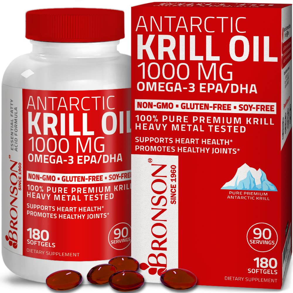 Antarctic Krill Oil 1000 mg with Omega-3s EPA, DHA, Astaxanthin and Phospholipids – 100% Pure Premium Krill Oil - Heavy Metal Tested, Non GMO Gluten Free Soy Free - 180 Softgels (90 Servings)