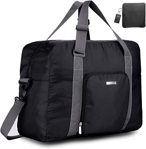 where can i buy where to buy affordable price Travel Foldable Duffle Bag for Women & Men, Waterproof Lightweight Travel  Luggage Bag for Sports, Gym (Black&Grid)