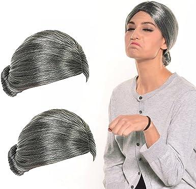 1*Old Lady Grandma Cosplay Costume Wig Hair Grandmother Masquerade Fresh Bun Wig