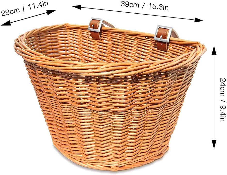 Retro 16 inch Bicycle Rattan Basket Waterproof Front Basket Storage with Fixed Strap Soft and Durable