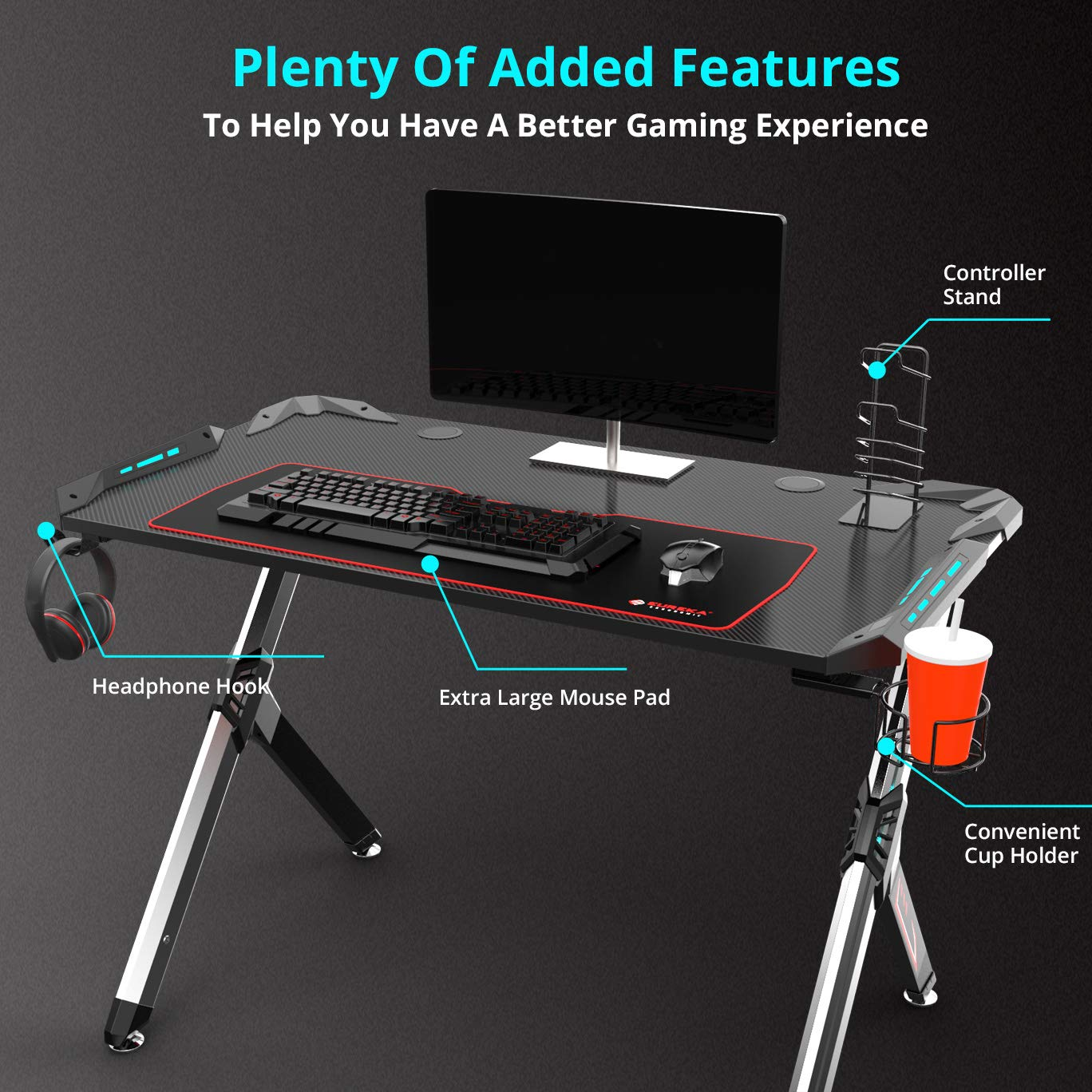 Eureka Ergonomic R1-S Gaming Desk 44.5 Office PC Computer Gamer Desks Pro RGB LED Lights, Sturdy Aluminum Alloy Table Legs with Controller Stand Cup Holder Headphone Hook – Black