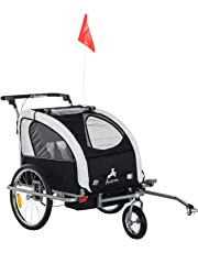 Aosom 3in1 Double Child Baby Bike Trailer and Stroller - Black & White