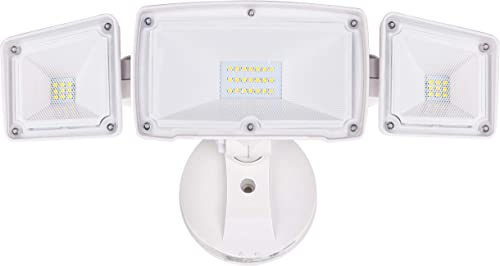 Haian LED Motion Sensor Flood Security Light Outdoor,20W 5000k Daylight 1800LM,Waterproof,Motion Detector Light for Outside with 2 Heads Plug in,Wall Mounted Pathway Lighting for Garage,Black
