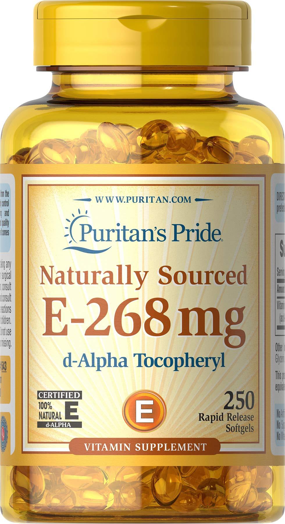 Puritans Pride Vitamin E-400 Iu (268mg) 100% Natural, 250 Count