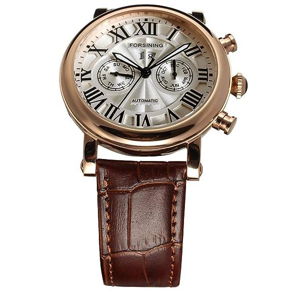 forsining Hombre carcasa de acero inoxidable automático analógico pantalla muñeca reloj fsg9407 m3r1: Amazon.es: Relojes