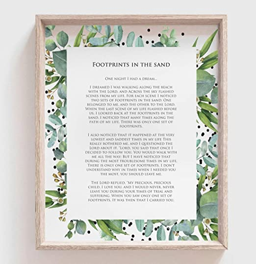 FOOTPRINTS Poster Inspirational Print Medium Size ~ Religious Poem Poster