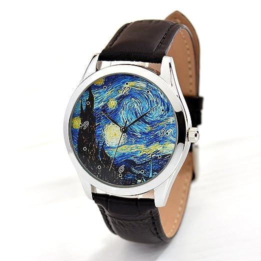 Arte reloj - noche estrellada de Van Gogh (negro Band,) único regalo, regalos de cumpleaños para novia, madre regalos: Amazon.es: Relojes