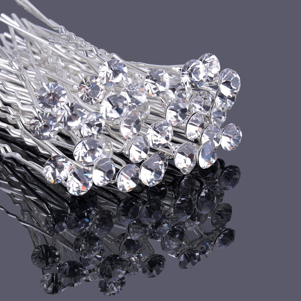 20PCS Clear Crystal Hair Clip Rhinestone Diamante Wedding Bridal Prom Hair Styling Accessories Hair Pins Newbee BTUK/A5005-20