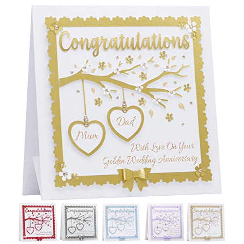 Personalised Golden Wedding Anniversary Card Embellished With