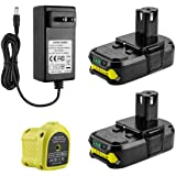 AYTXTG 2Pack 3.0Ah Replacement P102 Lithium Ryobi 18V Battery + P119 Ryobi Charger Li-ion & Ni-cad for Ryobi Oneplus Battery