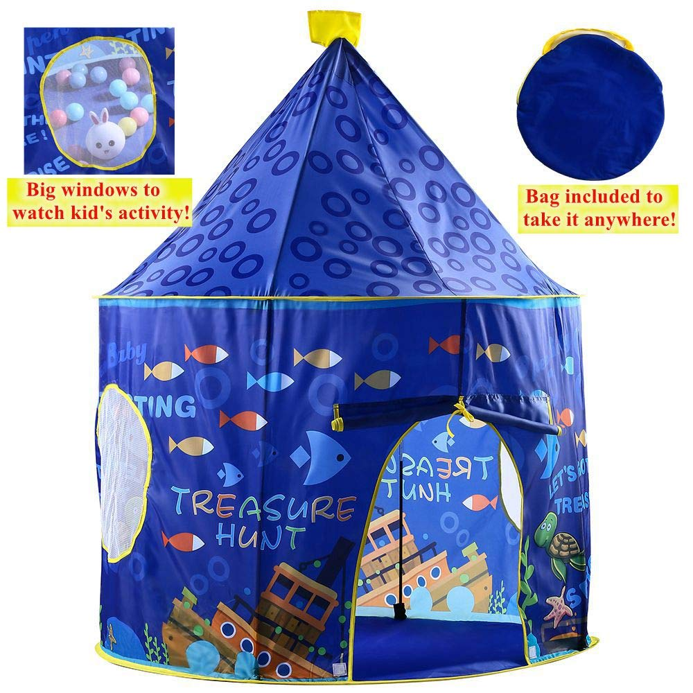 lulufan Kids Play Tent with Marine Animal in Ocean World-Indoor and Outdoor Tent for Boys and Girls-Pop Up Children Play Tent-Foldable Playhouse into a Carrying Bag