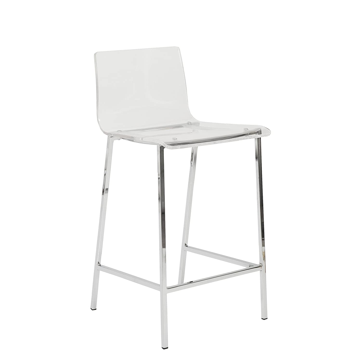 Acrylic Counter Height Stools Part - 48: Amazon.com: Euro Style Chloe Clear Acrylic Counter Height Stool With  Chromed Base, Set Of 2: Kitchen U0026 Dining