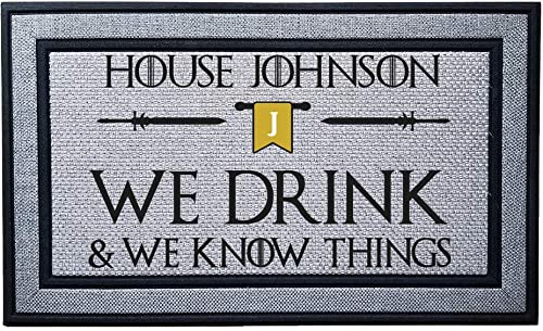 Personalized We Drink and We Know Things Heavy Duty Door Mat, Indoor Covered Entry Custom Bend The Knee Doormat