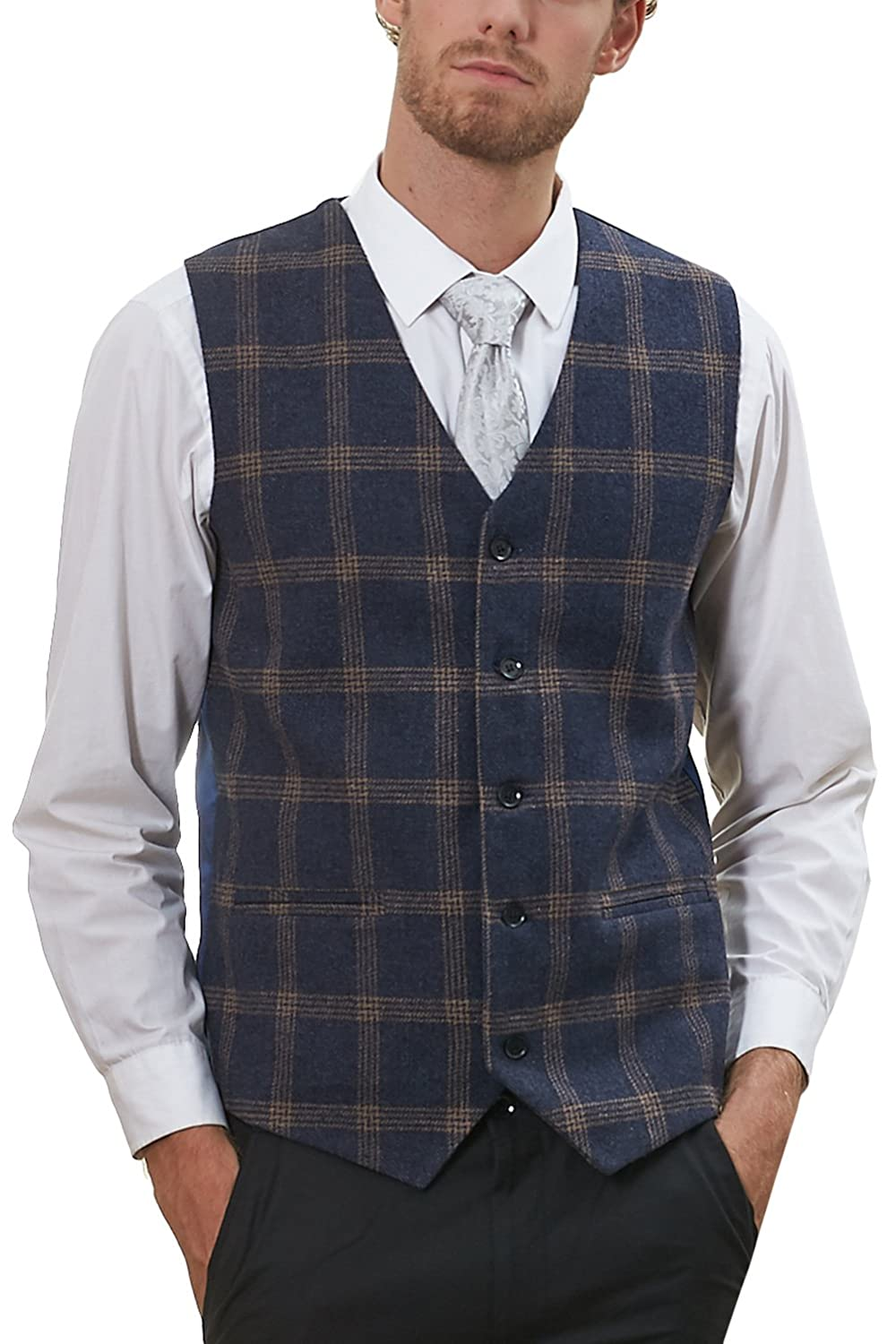 Hanayome Men's Jacket V-Nek Tweed Plaid Slim Fit Business Suit Vest 5 Button Coat VS58-VS-A1