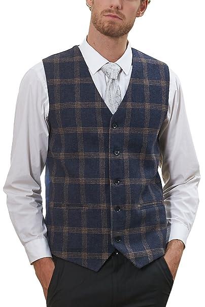 d5a7ed7270 Hanayome Men's Jacket V-Nek Tweed Plaid Slim Fit Business Suit Vest 5  Button Coat