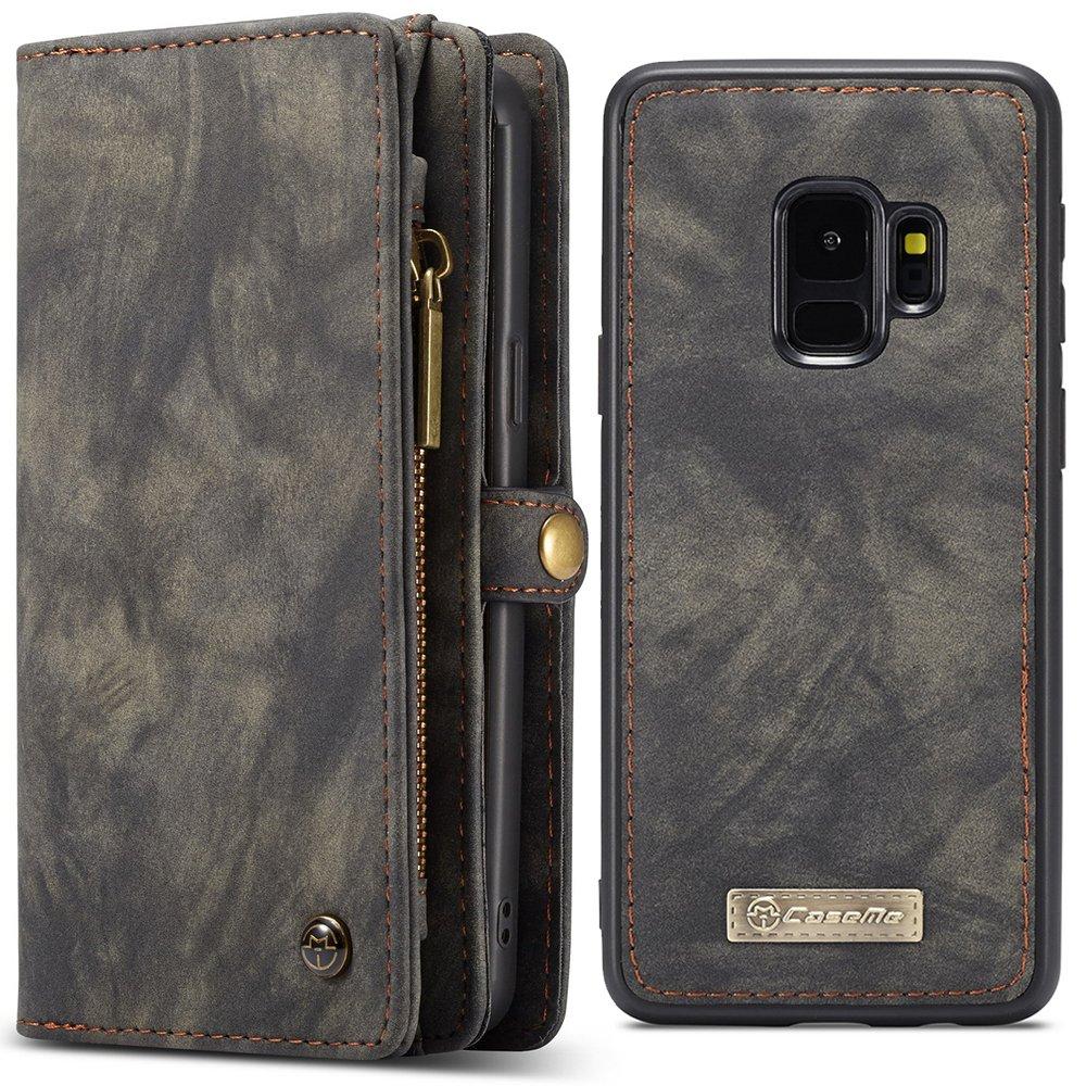 Samsung Galaxy S9/S9 Plus/S9 Flip étui en cuir, fente pour carte de crédit, fente pour portefeuille, housse de protection mat pour téléphone mobile magnétique KDS02272-S9 Plus-Gray@#HRS