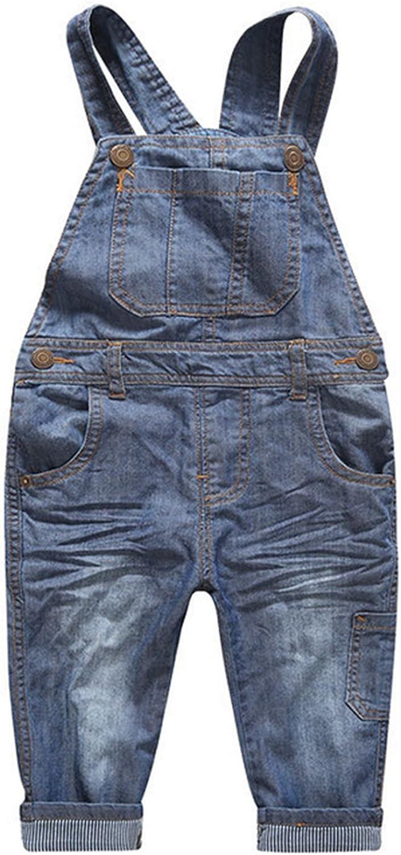 Kids Boys Girls Classic Denim Bib Pants Blue Jeans Suspenders Pants
