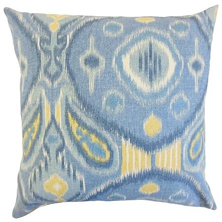 La Almohada Collection de enero de Ikat cojín, luz Azul ...