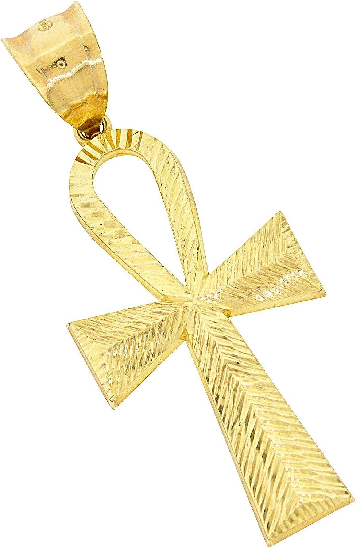 2.20 x 0.90 Mens 10k Yellow Gold Ankh Cross Pendant