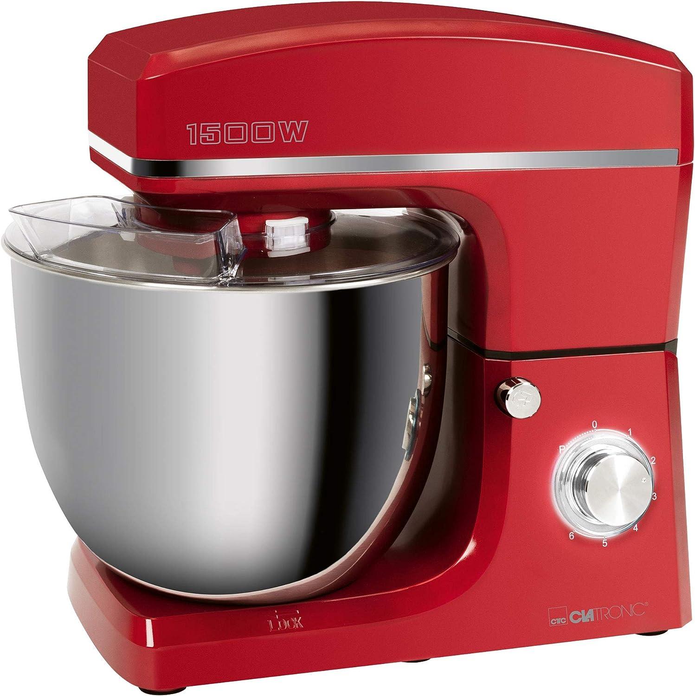 Clatronic Amasadora KM 3765, 1500 W, 8 velocidades, 10 litros, recipiente de acero inoxidable para un máximo de 6 a 6,5 kg, tapa antisalpicaduras con orificio de recarga, color rojo
