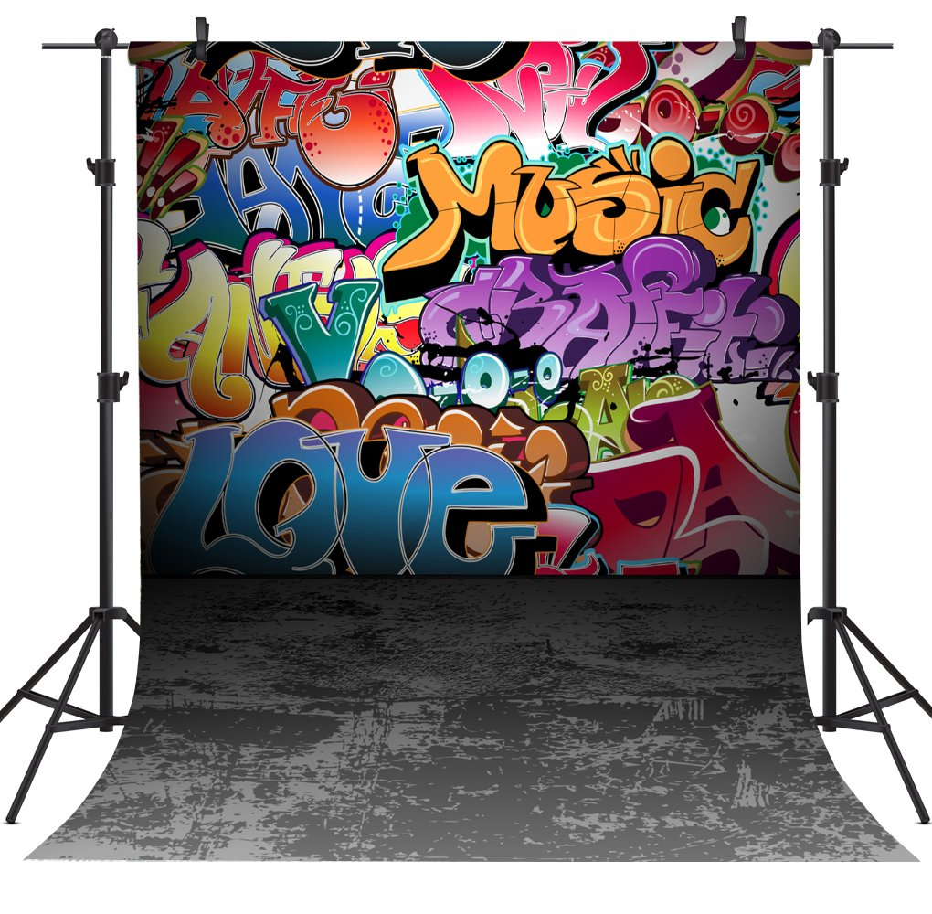 OUYIDA 5X7FT Wall Graffiti Style Pictorial Cloth Photography Background Computer-Printed Vinyl Backdrop TG01A by OUYIDA (Image #1)