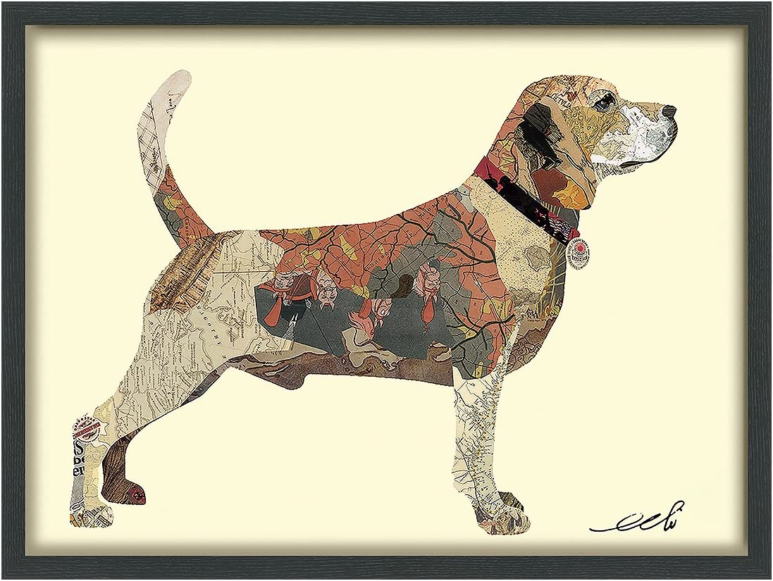 Empire Art Direct Beagle Dimensional Collage Handmade by Alex Zeng Framed Graphic Dog Wall Art, 25 x 33 x 1.4 , Ready to Hang 2