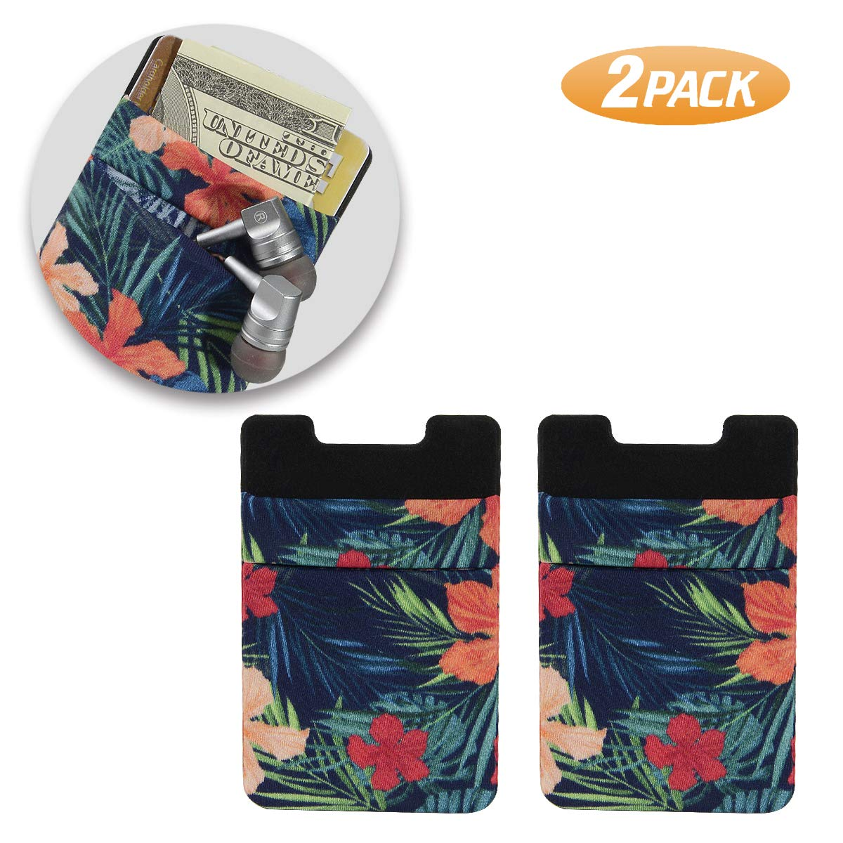 Black Phone Card Holder 2 Packs SHANSHUI Double Secure Lycra Spandex Slim Adhesive Credit Card Holder Case Stick On Pouch for Smart Phones - 2 Packs