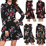 Dress Material for Womens Party Wear Under 1000,Floral Print Women's Long Sleeve Flare Bow O-Neck Long Dress