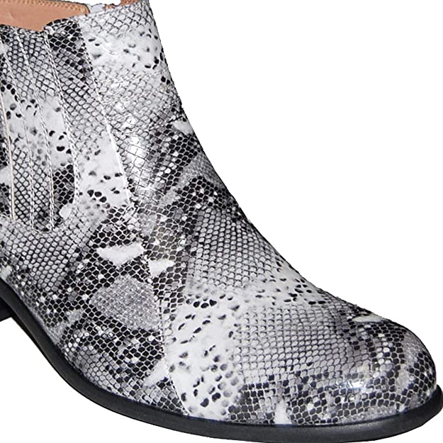 KRAZY SHOE ARTISTS Retro 2 Inch Cuban Heel Snake Print Men's Ankle Boots