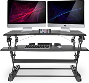 """LENTION Gas Spring Height Adjustable 35"""" Standing Desk for Home & Office, Ergonomic Sit to Stand Workstation with 35'' Wide Table-Top, Standup Computer & Laptop Riser Converter fit Dual Monitors"""
