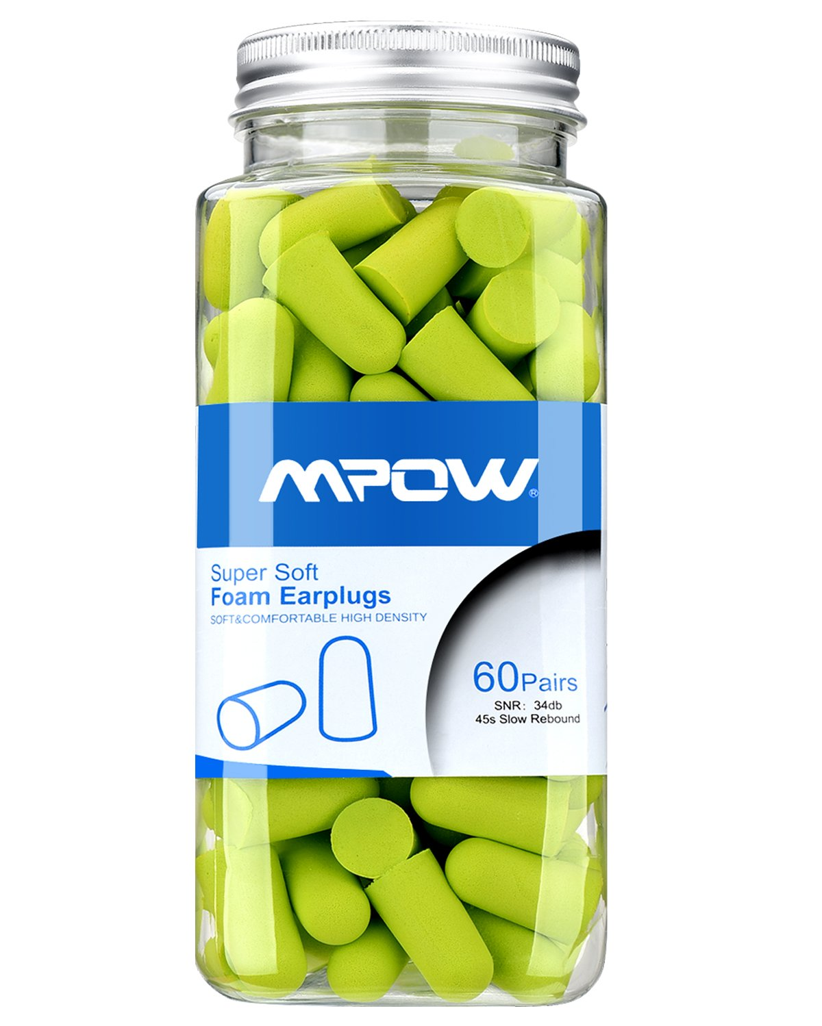 Mpow Foam Earplug, 34dB Highest NRR, 60 Pairs with Aluminum Carry Case, for Hearing Protection, Noise Reduction, Hunting Season, Sleeping, Snoring, Working, Shooting, Travel, Concert