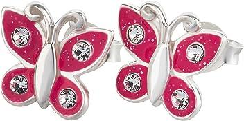 SL-Silver Kinder Ohrringe Schmetterling Kristalle und Glitzer 925 Silber in Geschenkbox