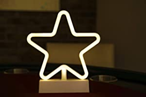 "Fabulous Decor - Star Neon LED Night Light Battery Powered Art Decoration for Kids, Gift, Girls, Boys, Teenage, Baby, Nursing, Living Room Bedroom, Birthday, Party, Christmas 8.1"" 9.2"""" (Soft White)"