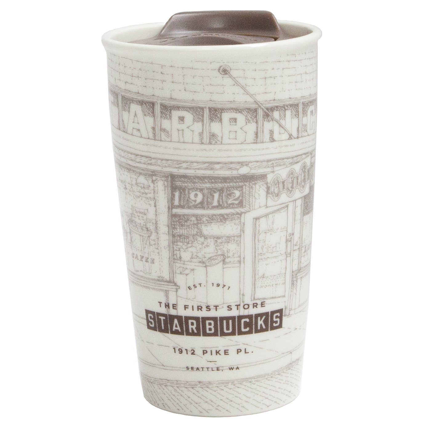 Amazon.com: Starbucks Coffee Pike Place Sketch Double Wall Ceramic ...