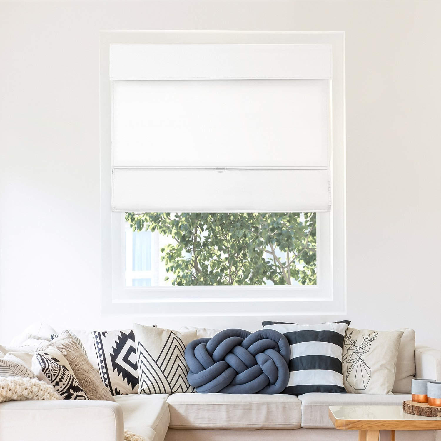 Chicology Cordless Magnetic Roman Shades / Window Blind Fabric Curtain Drape, Thermal, Light Filtering - Mountain Snow, 31''W X 64''H by CHICOLOGY