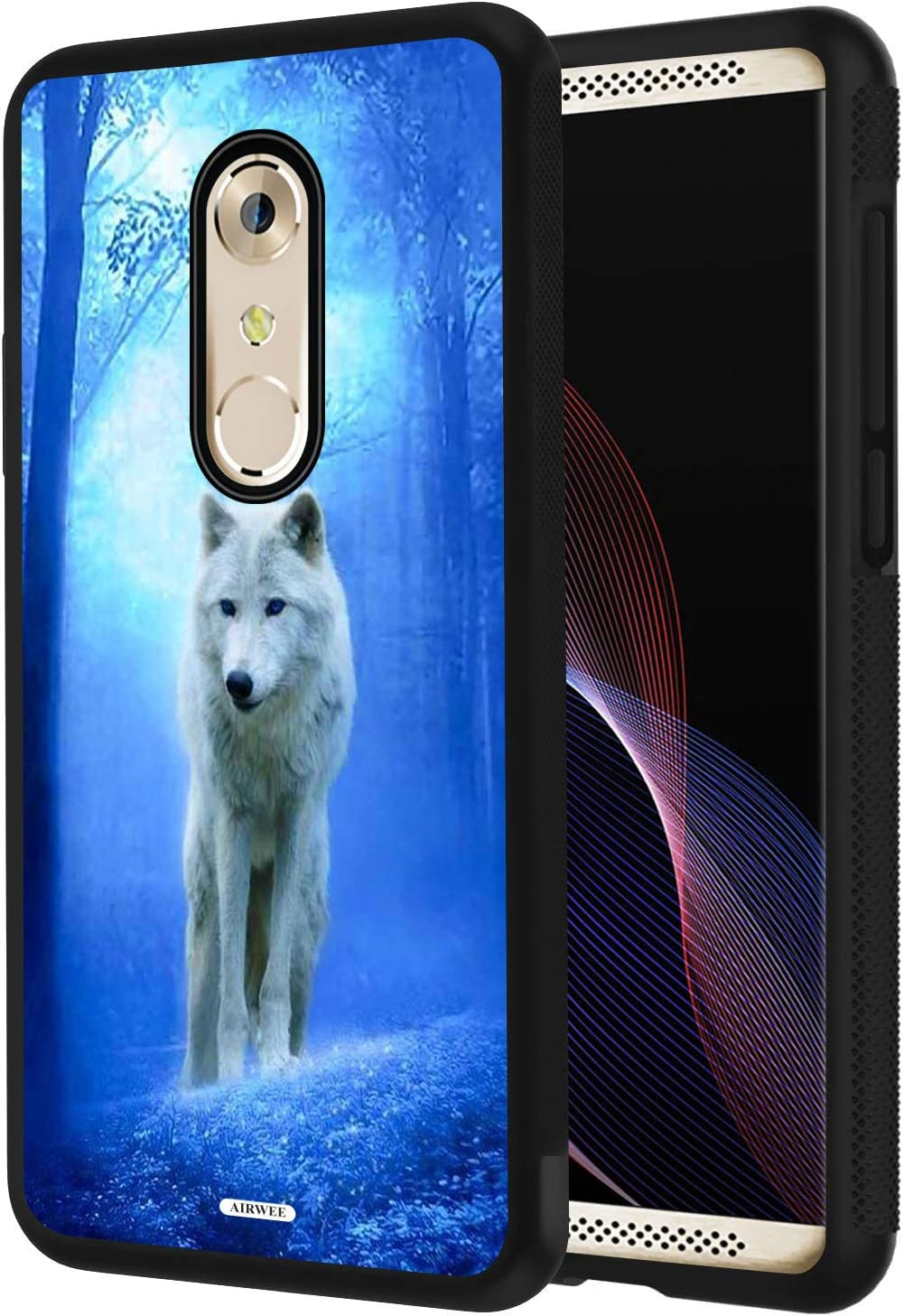 LG Q7 Case, LG Q7 Plus Case, AIRWEE Slim Shockproof Silicone TPU Back Protective Cover Case for LG Q 7/ Q7 Plus,White Wolf