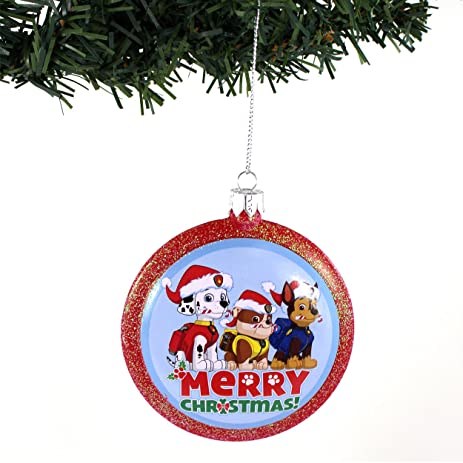 paw patrol kurt adler disc ornament merry christmas - Paw Patrol Christmas Decorations