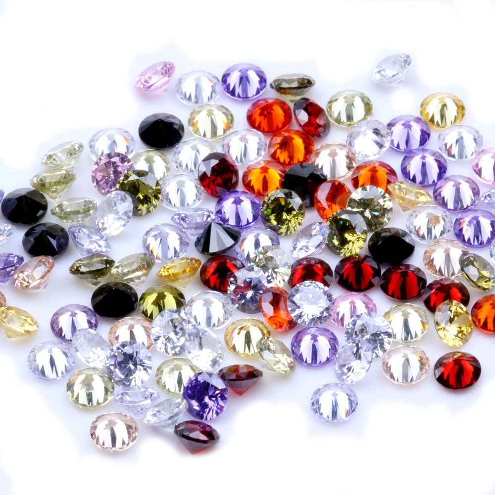 1000pcs AAAAA+ 2.5mm CZ Stone Round Cut Beads Mixed Colors Cubic Zirconia Synthetic Gems for Jewelry