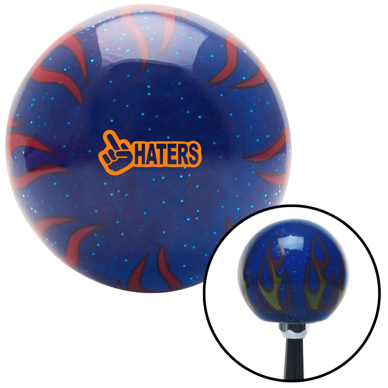 American Shifter 298551 Shift Knob Orange Haters Blue Flame Metal Flake
