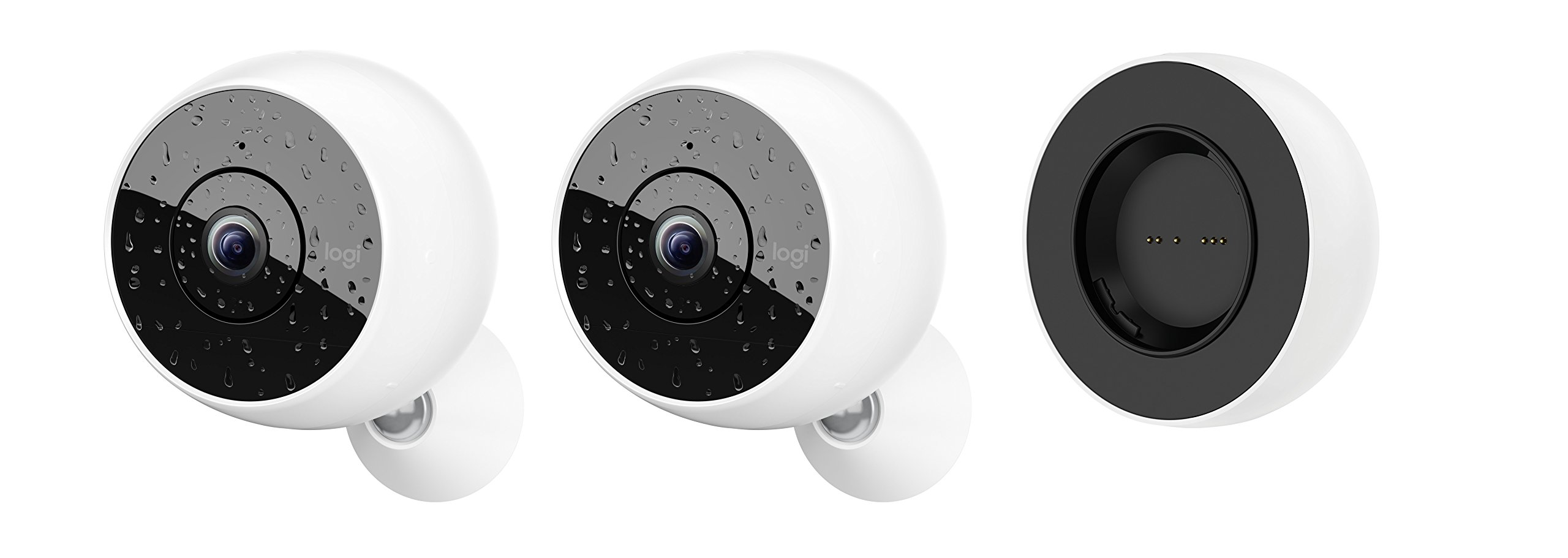 Logitech Circle 2 COMBO PACK: 2 Indoor/Outdoor Weatherproof Wireless Home Security Cameras + Rechargeable Battery (Person Detection, 24-Hr Free Time-Lapse), Works with Alexa and Google Assistant
