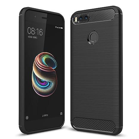 Tuopuda Funda Xiaomi Mi 5X / Xiaomi Mi A1 Negro TPU Fundas para Xiaomi Mi A1 Carcasa Xiaomi 5X Fibra de Carbono Funda Case (Negro)