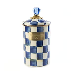 MacKenzie-Childs Royal Check Canister, Sugar, Coffee or Flour Container with Lid, Large Blue and White Kitchen Canister